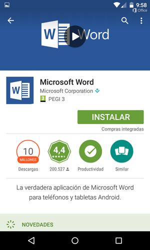 aplicación word para celular