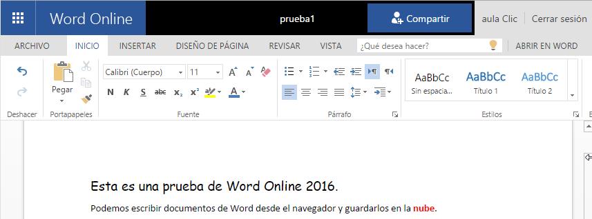 Word Online. Word gratis en la web