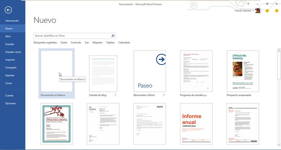 Crear un documento a través de una plantilla