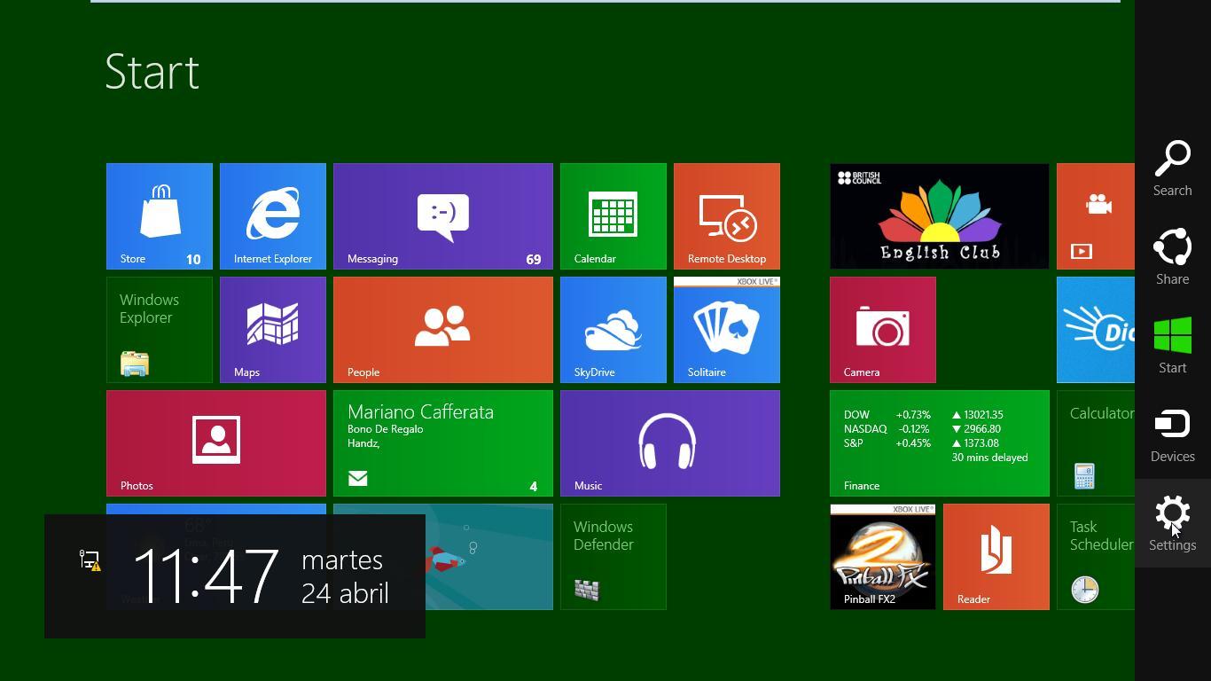Curso gratis de Guía Windows 8. aulaClic. 7 - Personalizar