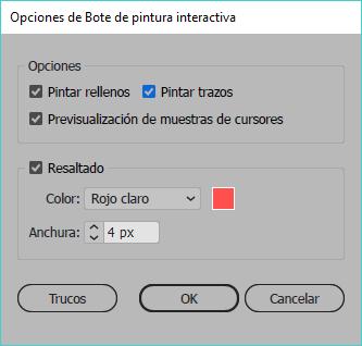 Opciones de bote de pintura interactiva