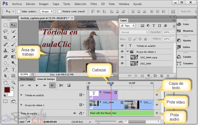 Interface de vídeo en Photoshop