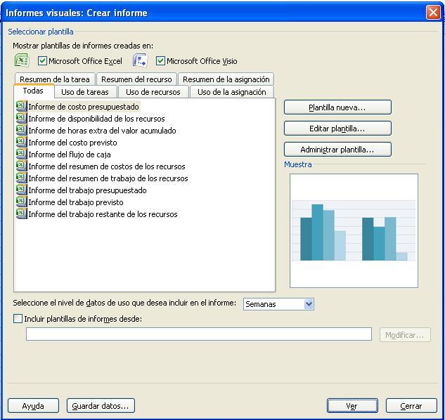 Curso gratis de Microsoft Project 2007. aulaClic. 10 - Informes